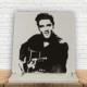 KFBiMilyon Elvis Presley Siyah Beyaz Baskılı Doğaltaş Masa Dekoru