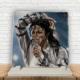 KFBiMilyon Michael Jackson White Baskılı Doğaltaş Masa Dekoru