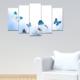 Evmanya Deco 5 Parça Mavi Kelebekler Dekoratif Tablo 100x60 cm