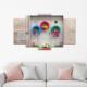 Bunjee 5 Parça Renkli Kapı Dekoratif Tablo 100x60 Cm