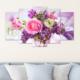 Bunjee 5 Parça Leylak ve Güller Dekoratif Tablo 100x60 cm