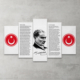 Plustablo Atatürk Bayrak İstiklal Marşı 5 Parça Mdf Tablo 100X60 Cm