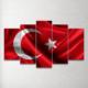 Plustablo Türk Bayrağı Özel Tasarım 5 Parça Mdf Tablo 100X60 Cm