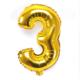 """Cin 16"""" 40 cm. 3 Rakamı Altın Rengi Folyo Balon cin84-3"""