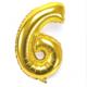 """Cin 16"""" 40 cm. 6 Rakamı Altın Rengi Folyo Balon cin84-6"""
