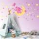 DekorLoft Fil ve Yıldızlar Uyku Arkadaşlarım Sticker Pembe