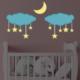 DekorLoft Yıldızlı Bulutlar Çocuk Odası Duvar Sticker CS-240