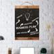 Evvedesign Retro Kara Tahta, Dekoratif Yazı Tahtası, Halat Askılı Çift Taraflı
