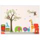 Duvar Sticker Çocuk Odası Dekorasyonu Sevimli Orman Hayvanları ve Ağaç Kendinden Yapışkanlı Dekor