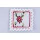 Miss Gaya Lavanta Kese Ekru Kırmızı Çerçeveli Kırmızı Çiçek Kanaviçe İşlemeli 11X11Cm