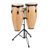 "Latin Percussion Cp640-Awb 10""(25.40 Cm) & 11""(27.94 Cm) W/Stand Natural Wood Conga Set"