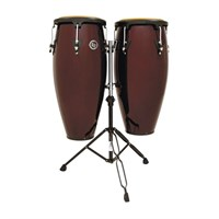 "Latin Percussion Cp640-Dwb 10""(25.40 Cm) & 11""(27.94 Cm) W/Stand Dark Wine Conga Set"