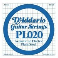 Daddario Pl020 Elektro Tek Tel Plain Steel 020