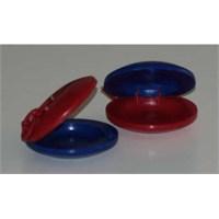 Plastik Kastanyet Mavi Kırmızı 1 Çift (6 Cm)
