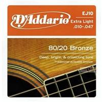 Daddario Ej10 Akustik Tel Extra Light (.010)