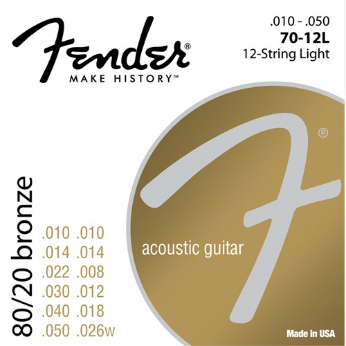 Fender 80/20 Bronze Acoustic Strings, Ball End, 70