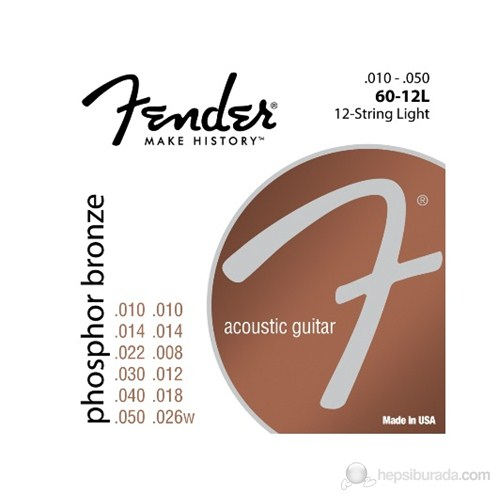 Fender 6012L Phosphor Bronze 12-Telli 1048 Akustik Gitar Teli