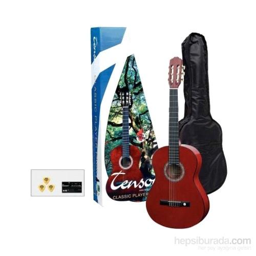 Tenson Kırmızı Klasik Gitar Set 4/4