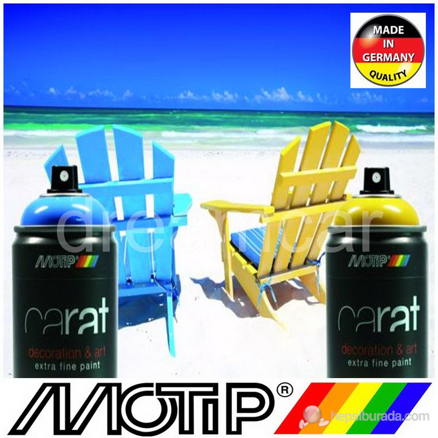 Motip Carat Ral 9005 Mat Siyah Akrilik Sprey Boya 400 Ml. Made in Germany 365317