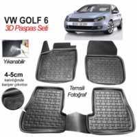 3D Kauçuk Paspas Vw Golf 6 Uyumlu Siyah