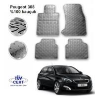 Peugeot 308 Hb Lüks Kauçuk Paspas - 4 Parça - Gri