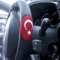 Deri Direksiyon Kılıfı Sarmalı Türk Bayraklı