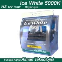 Ice White H3 12V 100W Beyaz 2li Ampül Seti