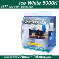 Ice White H11 12V 55W Beyaz 2li Ampül Seti
