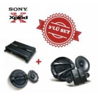 Sony XM-N1004 4 kanal Amfi ile XS-N1620C Mid Takım ve XS-GT1738F 17cm Hoparlör Set