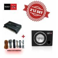 Sony XM-N1004 4 kanal Amfi ile XS-GTR121L Kabinli Subwoofer Set.Kablo Seti