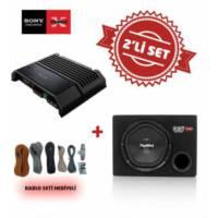 Sony XM-GS100 Mono Amfi ile XS-NW1200E Kabinli Subwoofer Set. Kablo Seti