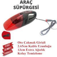 Demircioğlu Oto Araç Süpürgesi Çakmaklı 12V Siyah-Kırmızı