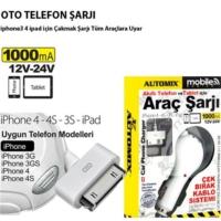 Automix İphone 4 Ve İpad İçin Araç Telefon Şarjı 1000Ma Çek Brak