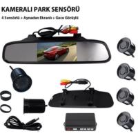 Carub Kameralı Park Sensörü Aynalı 4 Sensörlü Gece Görüşlü