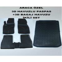 Perflex Ford Focus 3 Paspas+Bagaj Havuzu İkili Set 3D Havuzlu Siyah