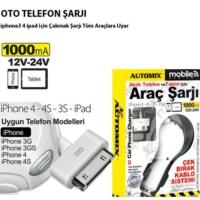 Tvet İphone 4 Ve İpad İçin Araç Telefon Şarjı 1000Ma Çek Brak