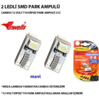 Tvet Park Ampulü Ledli Canbus 12V 2 Ledli Smd Mavi Ampül