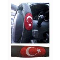Pmx Direksiyon Kılıfı Nakışlı Taksi Bayrak Logolu Çap:38Cm