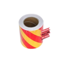Fosforlu Bant Çapraz 14 cm x 25 m Sarı-Kırmızı