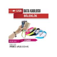 Şarj USB Data Bileklik 12V Iph5-5S-6 Pembe