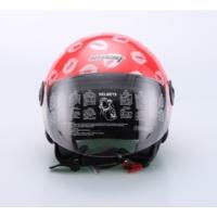 Spyder Motosiklet Kaskı Yarım Camlı 701 Bayan Kırmızı Öpücük Desenli Small