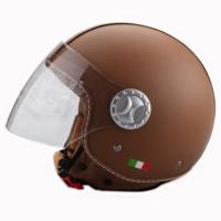 Spyder Motosiklet Kaskı Yarım Camlı 701 Deri Kaplı Kahverengi Xxl