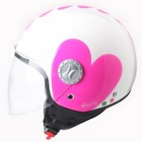 Spyder Motosiklet Kaskı Yarım Camlı 701 Beyaz Pembe Kalpli Medium