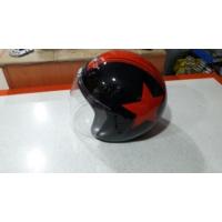 Motospartan Motosiklet Kaskı Yarım Camlı A - 662 Siyah Kırmızı Small