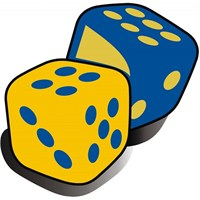 Sarı Lacivert Zar Sticker 10'Lu Paket