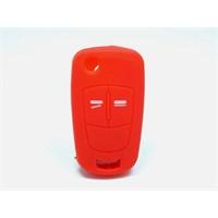 Opel Corsa Kumanda Kabı Koruyucu Silikon Kılıf 2 Tuş (Kırmızı)