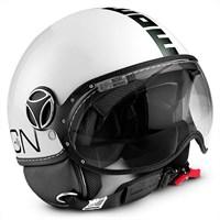 Momo Design Fgtr Classic Parlak Beyaz, Siyah Logo Small Kask