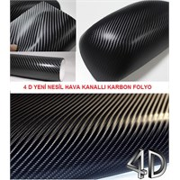 Schwer 4D Hava Kanallı Karbon Folyo 152Cmx3 Metre Siyah