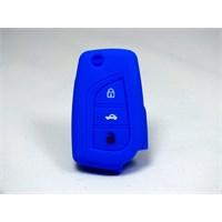 Toyota Corolla Kumanda Kabı Koruyucu Silikon Kılıf 3 Tuş ( Mavi )
