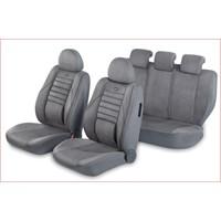 Pufi Nano Teknoloji / Airbag Uyumlu Ortepedik Universal Süet Koltuk Kılıfı - Renk: Koyu Gri